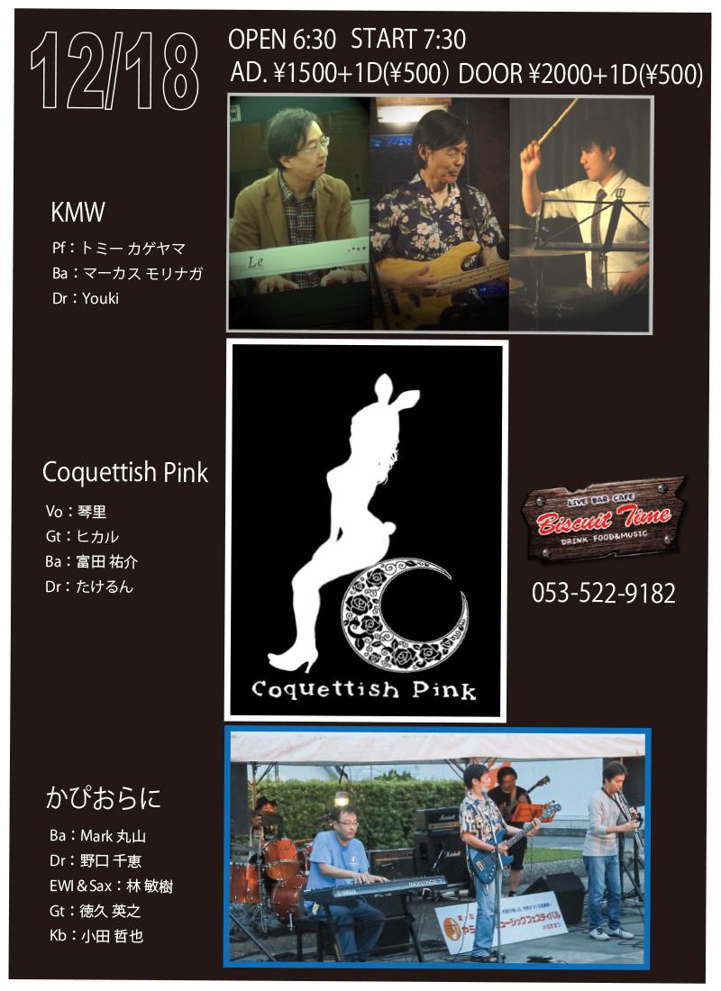 (日) 【Fusion & Rock】  かぴおらに & KMW & コケティッシュピンク:joint @BT
